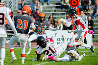 KELOWNA, BC - OCTOBER 6: Nate Adams #41 of Okanagan Sun moves in for the tackle on the VI Raiders at the Apple Bowl on October 6, 2019 in Kelowna, Canada. (Photo by Marissa Baecker/Shoot the Breeze)