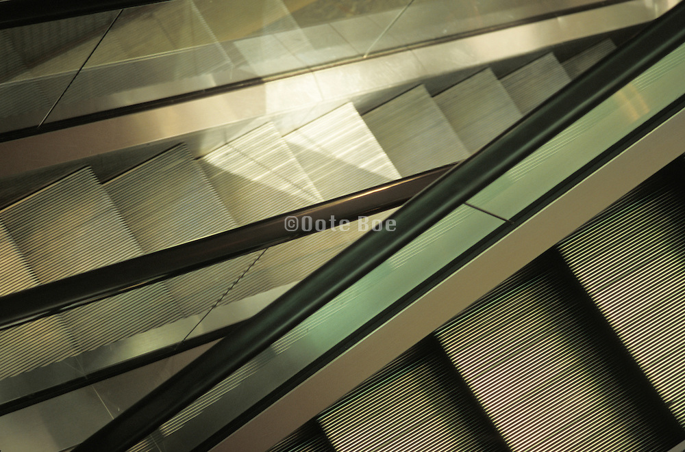 view of empty escalators from above