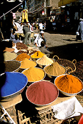 Egypt, along the Nile: Spices in a village market, food, Aswan. Photo egypts008  .Photo copyright Lee Foster, 510/549-2202, lee@fostertravel.com, www.fostertravel.com