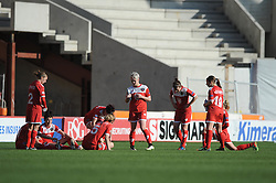 Bristol Academy players cut dejected figures as they lose 0-5 to FFC Frankfurt in the Womens Champions League - Photo mandatory by-line: Dougie Allward/JMP - Mobile: 07966 386802 - 21/03/2015 - SPORT - Football - Bristol - Ashton Gate Stadium - Bristol Academy v FFC Frankfurt - UEFA Women's Champions League - Quarter Final - First Leg