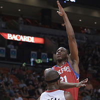 14 March 2010: Philadelphia 76ers forward Thaddeus Young goes for the skyhook against Miami Heat forward Jermaine O'Neal during the Miami Heat 100-89 victory over the Philadelphia 76ers at the AmericanAirlines  Arena, in Miami, Florida, USA.