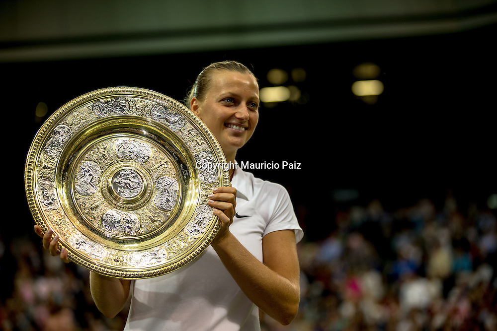 LONDON, ENGLAND - JULY 05: Petra Kvitova of Czech Republic Ladies' Singles final match against on day twelve of the Wimbledon Lawn Tennis Championships at the All England Lawn Tennis and Croquet Club on July 5, 2014 in London, England.