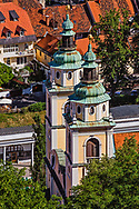 Elevated view of the Church of St. Nicholas, Ljubljana, Slovenia