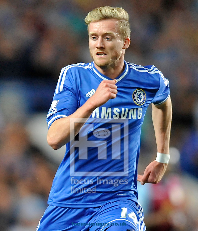 Picture by Alan Stanford/Focus Images Ltd +44 7915 056117<br /> 21/08/2013<br /> New signing Andre Schurrie of Chelsea  during the Barclays Premier League match at Stamford Bridge, London.