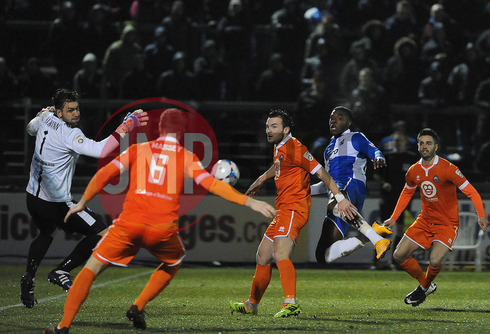 Bristol Rovers' Nathan Blissett  goes close with a header - Photo mandatory by-line: Neil Brookman/JMP - Mobile: 07966 386802 - 24/02/2015 - SPORT - Football - Bristol - Memorial Stadium - Bristol Rovers v Braintree - Vanarama Football Conference