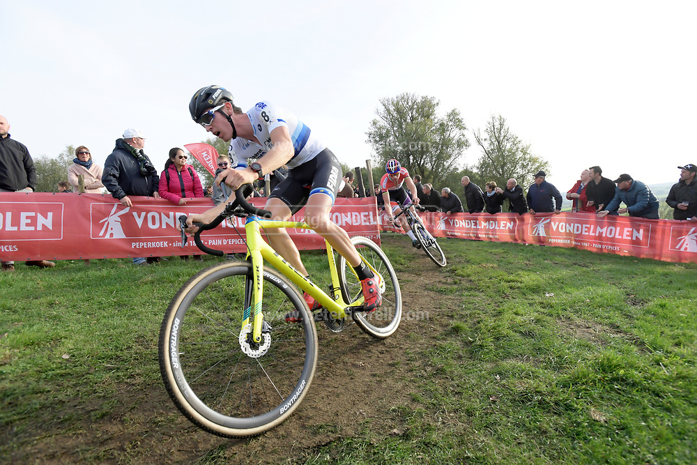 Belgium, November 1 2017:  Toon Aerts (Telenet-Fidea Lions) leads Mathieu van der Poel (Beobank-Cornedon) during the 2017 edition of the Koppenbergcross.  Toon Aerts would finish second on the podium behind Mathieu van der Poel. The race is part of the DVV Verzekeringen Trofee series. Copyright 2017 Peter Horrell.