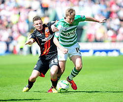 Sheffield United's Callum McFadzean challenges Yeovil Town's Sam Foley - Photo mandatory by-line: Dougie Allward/JMP - Tel: Mobile: 07966 386802 06/05/2013 - SPORT - FOOTBALL - Huish Park - Yeovil - Yeovil Town V Sheffield United - NPOWER LEAGUE ONE PLAY-OFF SEMI-FINAL SECOND LEG