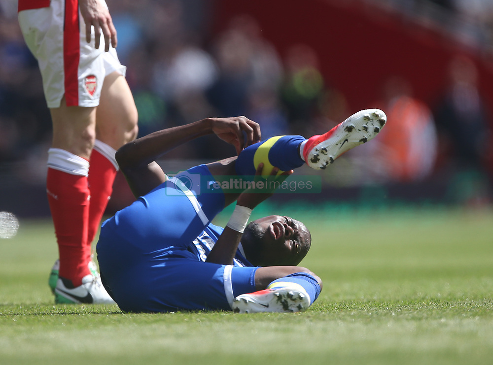 21 May 2017 London : Premier League - Arsenal v Everton :<br /> Enner Valencia of Everton writhes in agony after a red card tackle from Koscielny.<br /> Photo: Mark Leech