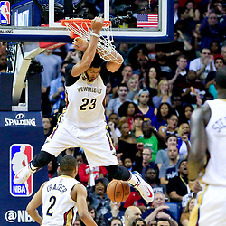 Oct 28, 2016; New Orleans, LA, USA;  New Orleans Pelicans forward Anthony Davis (23) dunks against the Golden State Warriors during the second quarter of a game at the Smoothie King Center. Mandatory Credit: Derick E. Hingle-USA TODAY Sports