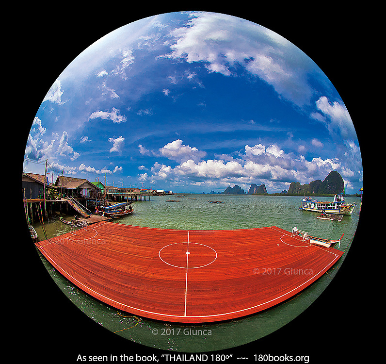 "Floating Soccer ""Field"" at Fishermen's Village in the Phang Nga Bay, Thailand"