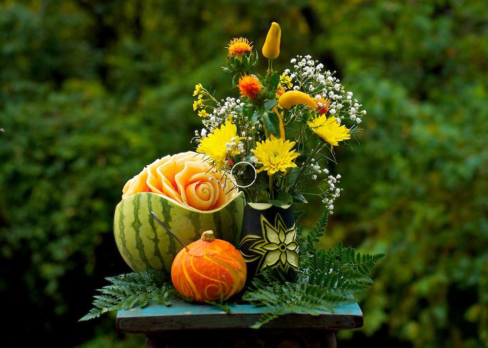 Melon Fruit Carving Sculpture by Miechele McCoy