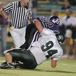 07 November 2008: Ponchatoula Green Wave DL Anthony Parazzo (#94)  The Ponchatoula Green Wave defeated District 7-5A rival the Hammond Tornados 34-13 at Strawberry Stadium in Hammond, LA . The Green Wave with the win clinched a spot in the 2008 playoffs.
