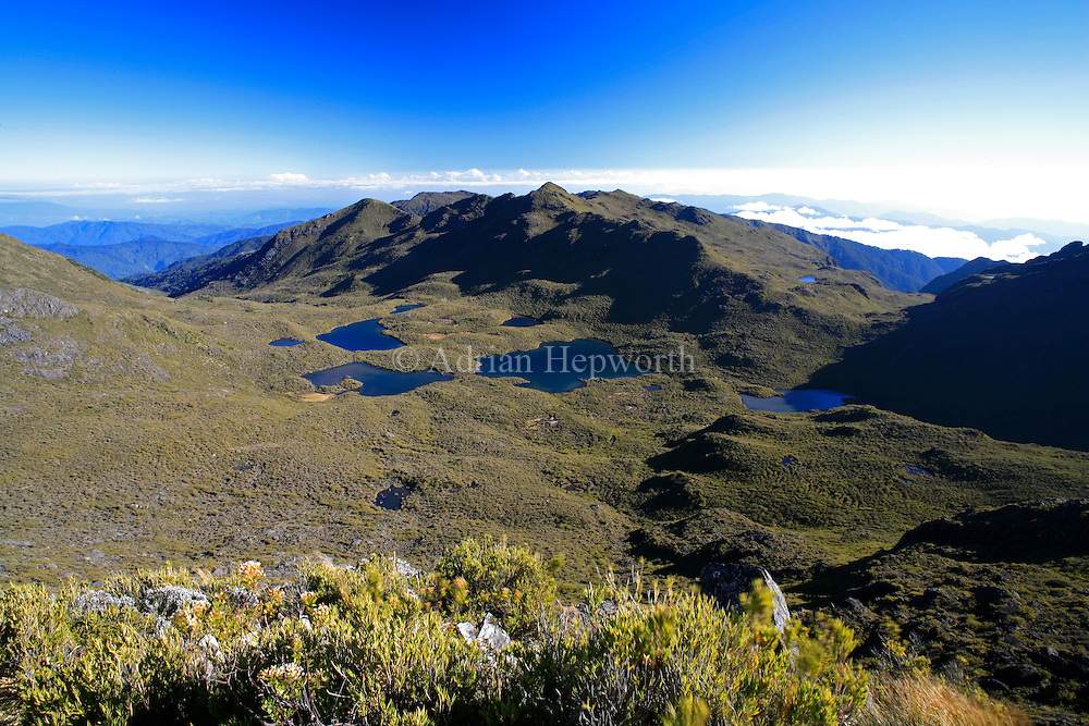 Lakes Las Morenas seen from summit of Mount Chirripo, Costa Ricas highest mountain  3820m. Chirripo National Park, Costa Rica.<br /> <br /> For pricing click on ADD TO CART (above). We accept payments via PayPal.