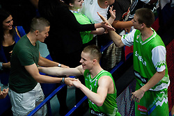 Jaka Lakovic congratulates to Klemen Prepelic of Slovenia and Jaka Brodnik of Slovenia  after winning the basketball match between National teams of Turkey and Slovenia in Qualifying Round of U20 Men European Championship Slovenia 2012, on July 17, 2012 in Domzale, Slovenia. Slovenia defeated Turkey 72-71 in last second of the game. (Photo by Vid Ponikvar / Sportida.com)