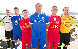 CARDIFF, WALES - Tuesday, August 14, 2012: Welsh Premier League clubs with Macron kit at the launch the 2012/2013 Welsh Premier League at the St. David's Hotel. L-R: Tom Field (Airbus UK), Lee Idzi (Bangor City), Antonio Corbisiero (Llanelli AFC), Cortez Belle (Port Talbot Town), Shane Sutton (Newtown AFC), Paul Fowler (Carmarthen Town). (Pic by David Rawcliffe/Propaganda)
