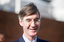 © Licensed to London News Pictures. 03/10/2017. Manchester UK. Jacob Rees Mogg arrives at the Conservative Party Conference this morning ahead of Boris Johnson's speech to the Party Conference this afternoon in Manchester. Photo credit: Andrew McCaren/LNP
