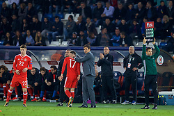 TBILSI, GEORGIA - Friday, October 6, 2017: Wales manager Chris Coleman congratulates goal-scorer Tom Lawrence as he is substituted in his side's 1-0 victory over Georgia during the 2018 FIFA World Cup Qualifying Group D match between Georgia and Wales at the Boris Paichadze Dinamo Arena. (Pic by David Rawcliffe/Propaganda)