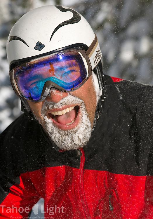 Colin Kemp after one too many face shots Powder skiing at Mt. Rose Ski Tahoe