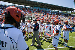 Virginia head coach Dom Starsia before the start of the Villanova game.  The #5 ranked Virginia Cavaliers defeated the #19 ranked Villanova Wildcats 18-6 in the first round of the 2008 NCAA Men's Lacrosse Tournament the University of Virginia's Klockner Stadium in Charlottesville, VA on May 10, 2009.