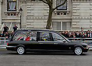 © Licensed to London News Pictures. 17/04/2013. Westminster, UK The hearse passes along Whitehall by the Cenotaph and Downing Street. The Funeral of former conservativePrime Minister Margaret Thatcher today 17th April 2013. Photo credit : Stephen Simpson/LNP