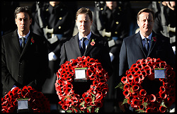 The Prime Minister David Cameron and the Deputy Prime Minister Nick Clegg  and the Labour Leader Ed Miliband attend  the annual Remembrance Sunday Service at the Cenotaph, Whitehall, London, England. Sunday, 10th November 2013. Picture by Andrew Parsons / i-Images