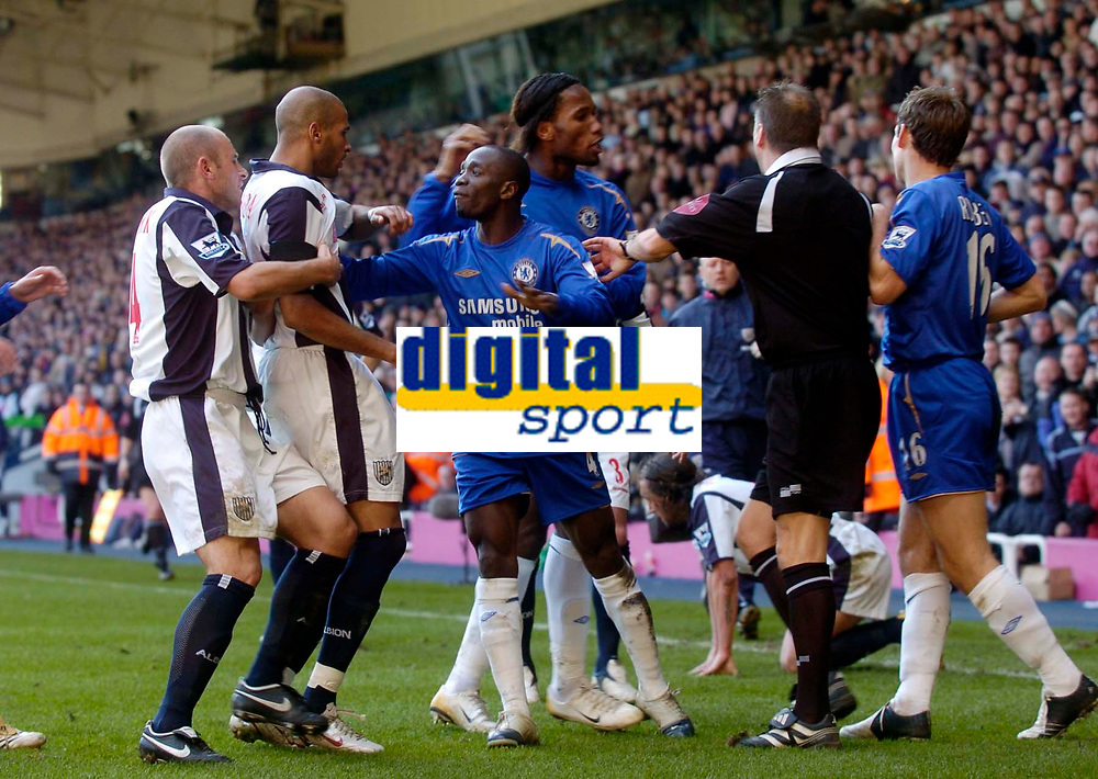 Photo: Glyn Thomas.<br />West Bromwich Albion v Chelsea. The Barclays Premiership. 04/03/2006.<br />Tempers flare following Arjen Robben's tackle on Jonathan Greening, for which he was shown the red card.