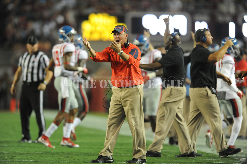 Ole Miss Rebels head coach Hugh Freeze reacts to a call vs. Alabama at Bryant-Denny Stadium in Tuscaloosa, Ala. on Saturday, September 19, 2015. Ole Miss won 43-37.