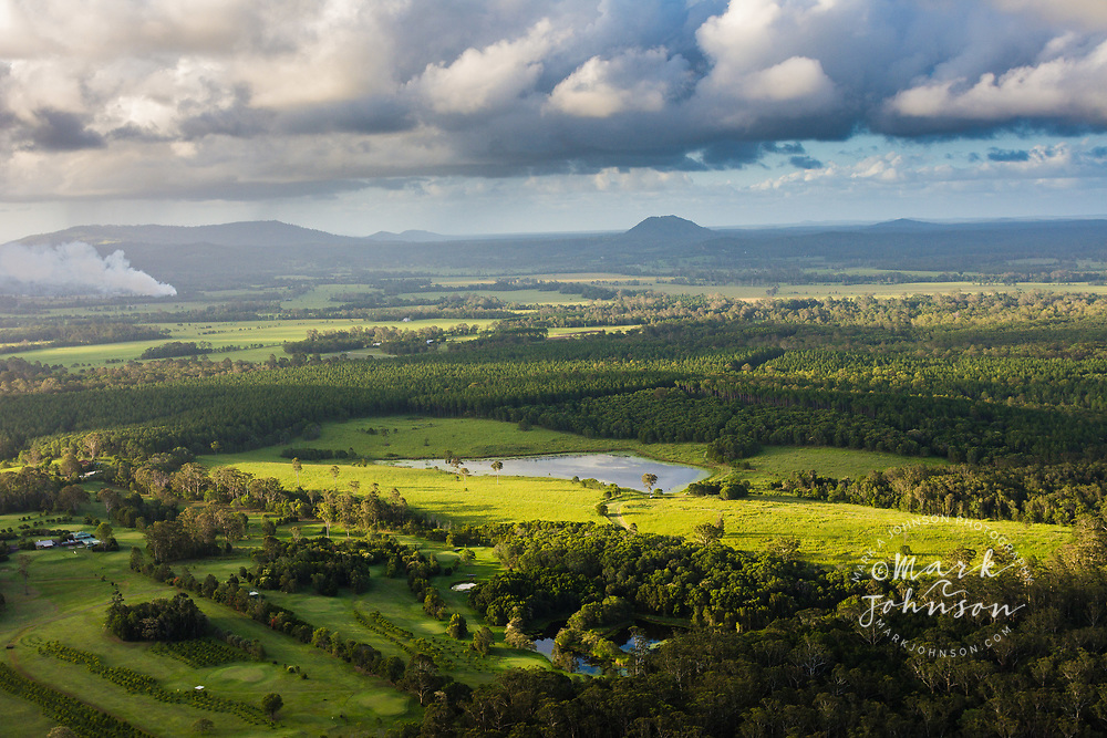 Aerial view of the rural area near Lake Cootharaba, Sunshine Coast, Queensland, Australia