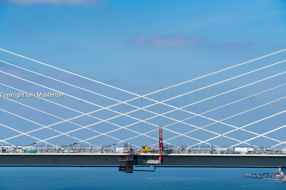 View of new Queensferry Crossing bridge showing fans of supporting cables in Scotland, UK
