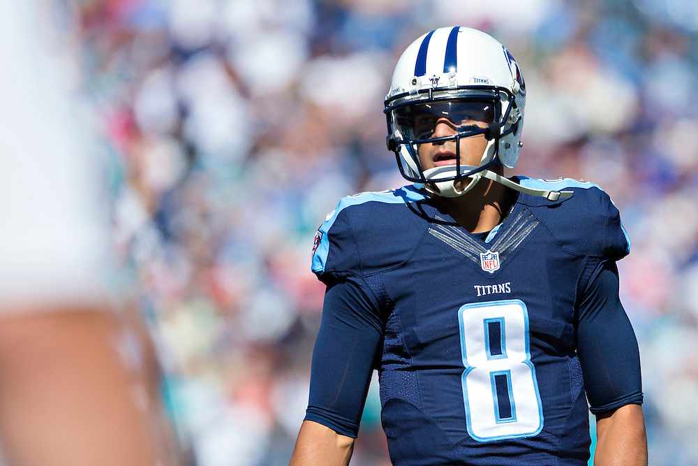 NASHVILLE, TN - OCTOBER 18:  Marcus Mariota #8 of the Tennessee Titans looks to the sidelines during a game against the Miami Dolphins at LP Field on October 18, 2015 in Nashville, Tennessee.  The Dolphins defeated the Titans 38-10.  (Photo by Wesley Hitt/Getty Images) *** Local Caption *** Marcus Mariota