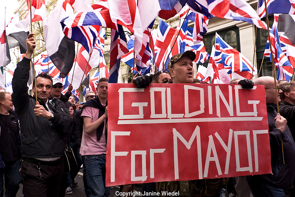 Paul Golding campaign for mayor at Far right anti Islamic group Britain First march and rally on Victoria Embankment in Central London, April 1 2017 photos Janine Wiedel