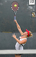 Iowa City High's Eve Small serves the ball during the Singles Draw finals match of the Class 2A state tennis tournament at Veterans Memorial Tennis Center in Cedar Rapids on Friday, May 31, 2013.