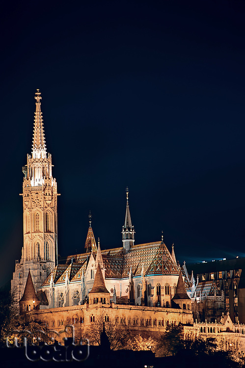 Night cityscape of the Matthias Church in Budapest  capital of Hungary