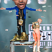 "WASHINGTON, DC - April 10th, 2014 - Miley Cyrus performs with a life-sized puppet of Big Sean as she sings ""Love Money Party"" at the Verizon Center in Washington, D.C. as part of her Bangerz Tour. (Photo by Kyle Gustafson / For The Washington Post)"