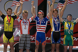 The Men's Division I Omnium podium: Mark Hardman / University of Virginia, Tyler Dibble / UC Davis, Alex Boyd / Midwestern State, Kiel Reijen / Colorado University at Boulder, and Will Dugan / UVM.<br />