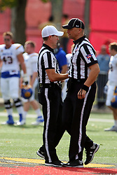 29 October 2016:  Referee Rich Edwards and Umpire Edward Laco shake hands as they take the field just before the NCAA FCS Football game between South Dakota State Jackrabbits and Illinois State Redbirds at Hancock Stadium in Normal IL (Photo by Alan Look)