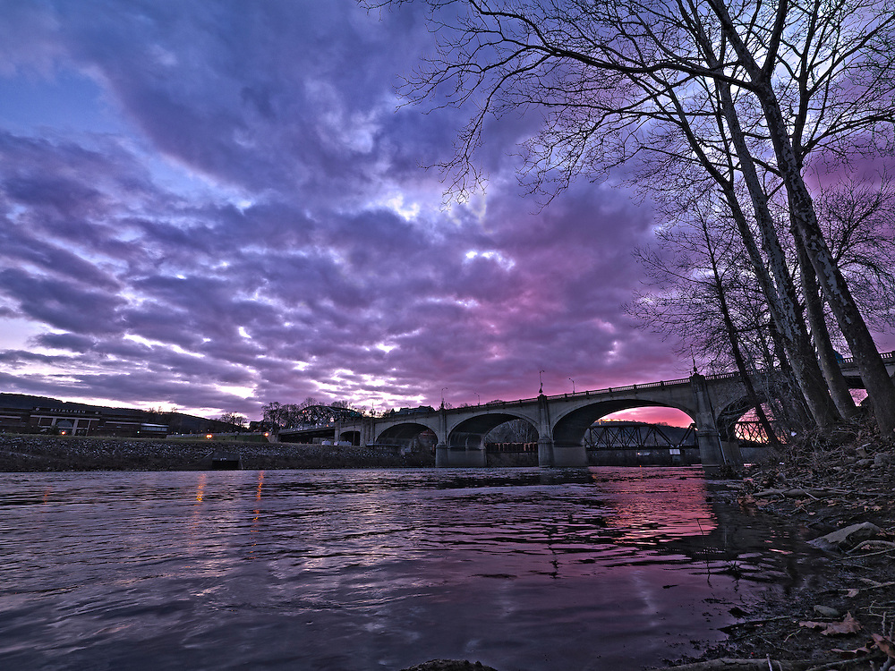 Part of a timelapse I shot several years ago on the banks of the Lehigh River in Bethlehem, Pennsylvania. In the foreground is the I-378 bridge