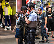 HONG KONG, HONG KONG SAR,CHINA. APRIL  3rd 2019. <br /> On set. Movie set on the busy shopping streets of Causeway Bay Hong Kong. After a significant drop in Hong Kong movies in recent years, there has been a noticeable upturn in on location shooting on the street thanks to a government creative push.