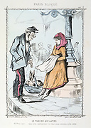 Franco-Prussian War 1870-1871: Siege of Paris 19 Sept 1870-28 Jan 1871. The Rabbit Market: Customer querying the price of 40 francs for a rabbit.  From 'Paris Bloque', Faustin Betbeder.  France Germany Food Shortage Hunger