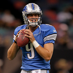 2009 September 13: Detroit Lions rookie quarterback Matthew Stafford (9) in warm ups prior to a 45-27 win by the New Orleans Saints over the Detroit Lions at the Louisiana Superdome in New Orleans, Louisiana.