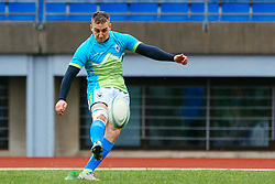 Ziga Burnik during rugby match between National team of Slovenia (green-blue) and Luxemburg (blue-white) at EUROPEAN NATIONS CUP 2014-2016 of C group 2nd division, on April 18, 2015, at ZAK Stadium, Ljubljana, Slovenia. (Photo by Matic Klansek Velej / Sportida.com)