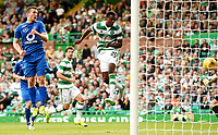 15/07/15 UEFA CHAMPIONS LEAGUE QUALIFIER<br /> CELTIC V STJARNAN<br /> CELTIC PARK - GLASGOW<br /> Celtic debutant Dedryck Boyata scores the opening goal.