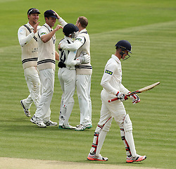 Middlesex celebrate the wicket of Durham's Keaton Jennings - Photo mandatory by-line: Robbie Stephenson/JMP - Mobile: 07966 386802 - 04/05/2015 - SPORT - Football - London - Lords  - Middlesex CCC v Durham CCC - County Championship Division One