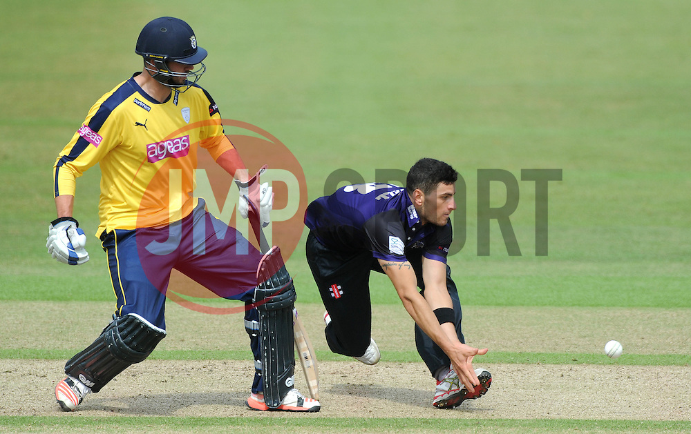 Benny Howell of Gloucestershire attempts to catch the ball  - Photo mandatory by-line: Dougie Allward/JMP - Mobile: 07966 386802 - 14/07/2015 - SPORT - Cricket - Cheltenham - Cheltenham College - Natwest T20 Blast