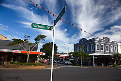 Shops line Victoria Road, Devonport, Auckland, New Zealand