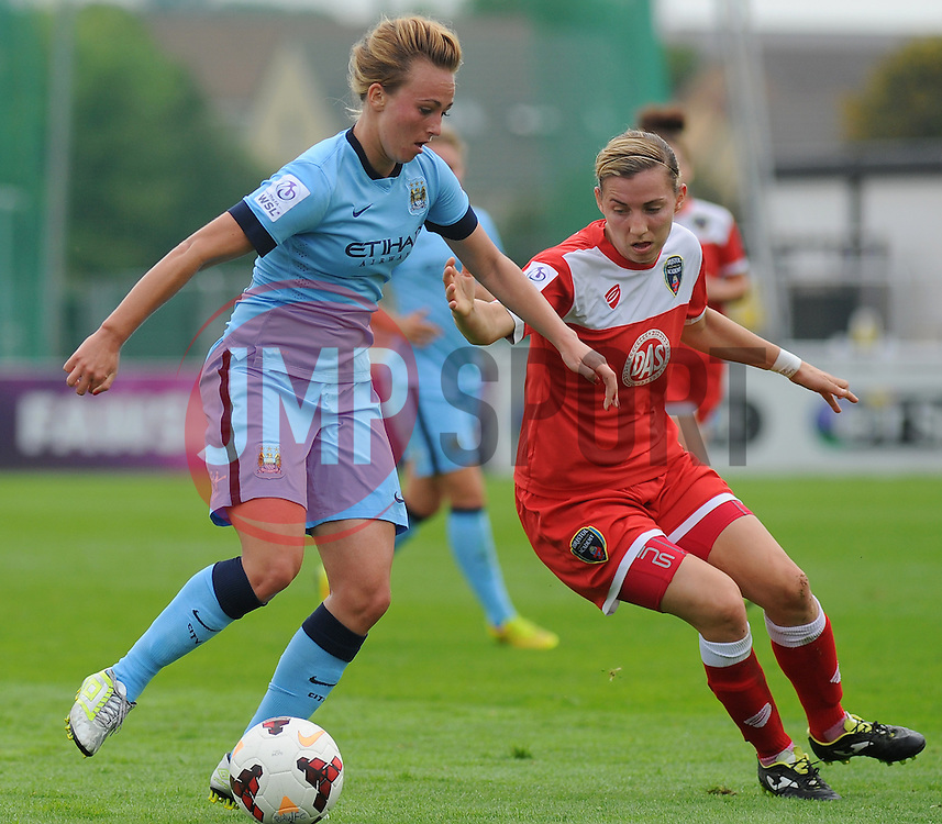 Bristol Academy Womens' Grace McCatty jostles for ball possession.- Photo mandatory by-line: Nizaam Jones- Mobile: 07583 387221 - 28/09/2014 - SPORT - Women's Football - Bristol - SGS Wise Campus - BAWFC v Man City Ladies - sport