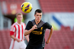 STOKE-ON-TRENT, ENGLAND - Wednesday, May 1, 2013: Liverpool's Alex O'Hanlan in action against Stoke City during the Premier League Academy match at the Britannia Stadium. (Pic by David Rawcliffe/Propaganda)