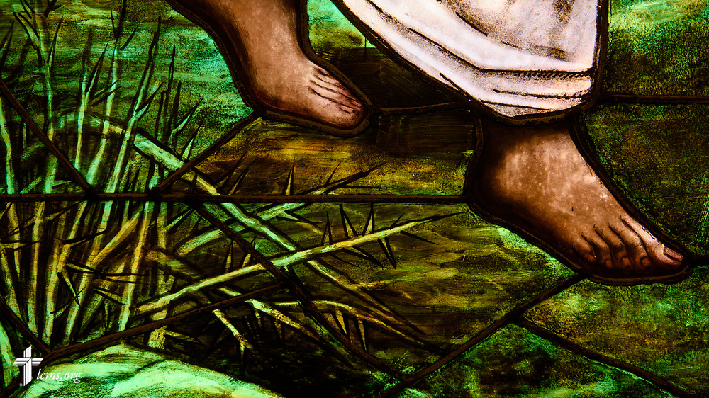 Stained glass depicting the feet of Jesus at Zion Lutheran Church on Thursday, July 13, 2017, in Ottawa, Ill. LCMS Communications/Erik M. Lunsford