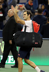 SHANGHAI, Oct. 13, 2018  Switzerland's Roger Federer greets the spectators after the men's singles semifinal match against Borna Coric of Croatia at 2018 ATP Shanghai Masters tennis tournament in Shanghai, east China, Oct. 13, 2018. Federer lost 0-2. (Credit Image: © Fan Jun/Xinhua via ZUMA Wire)
