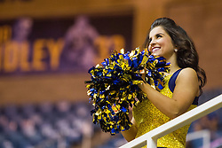 Nov 28, 2016; Morgantown, WV, USA; A West Virginia Mountaineers dance team member is seen during a timeout during the first half at WVU Coliseum. Mandatory Credit: Ben Queen-USA TODAY Sports